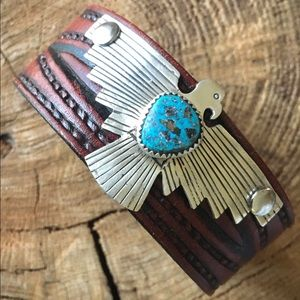 """Jewelry - Leather/sterling/turquoise """"Freebird""""  cuff"""